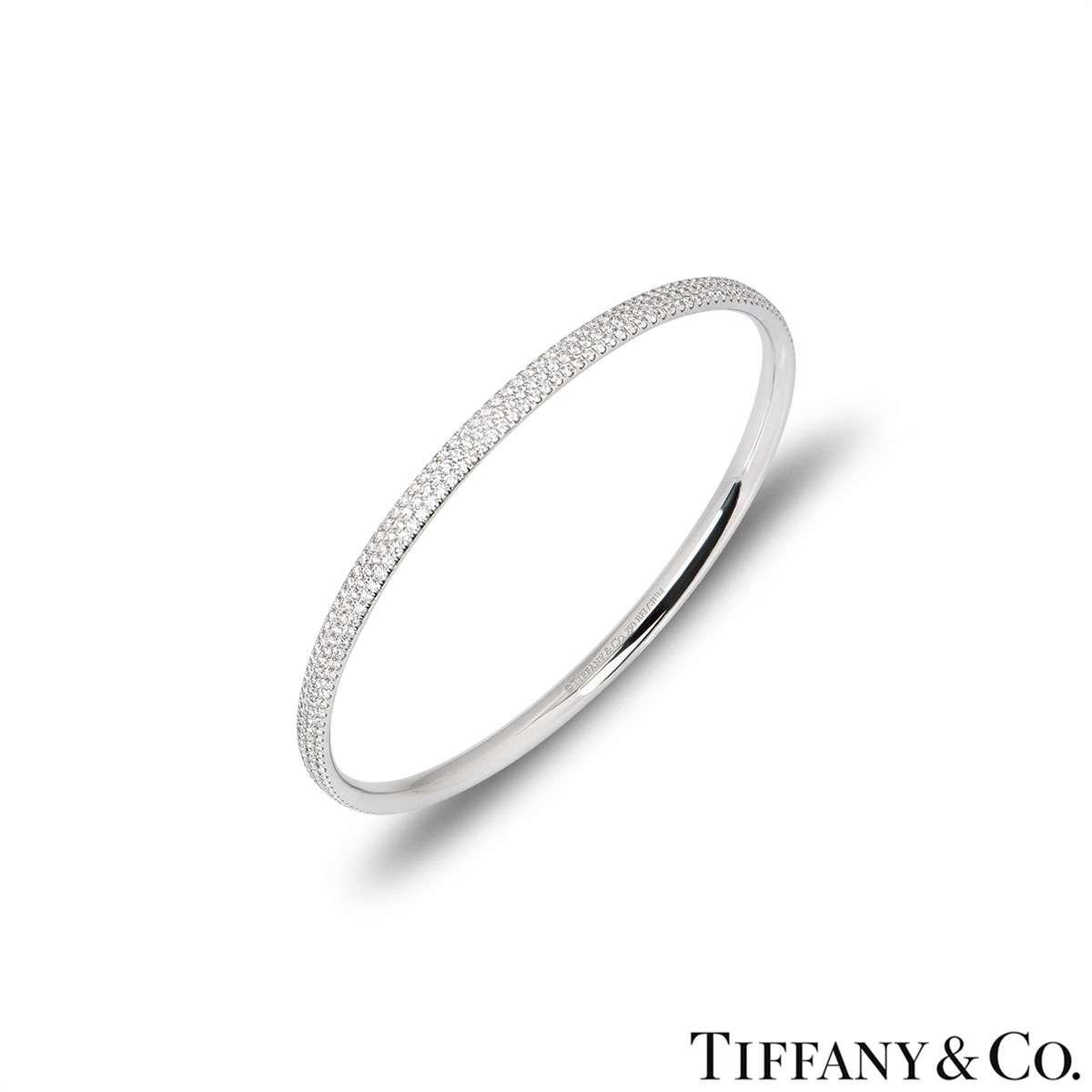 Tiffany & Co. White Gold Diamond Bangle